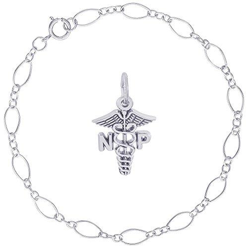 Rembrandt Charms Sterling Silver Nurse Practitioner Charm on a Figaro Link Bracelet, 7