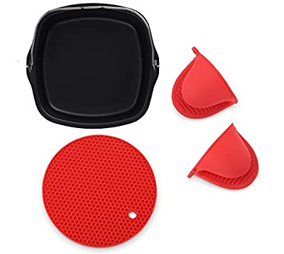 Air Fryer Non-Stick Baking Pan Fits Philips Airfryer, GoWise USA, Power Airfryer, Cozyna, Avalon Bay & Premium Silicone Mini Oven Mitts & Silicone Trivet-Air Fryer Accessories-Set of 3