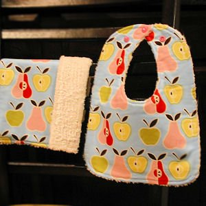 Apples and Pears with Chenille Bib and Burp Cloth Set