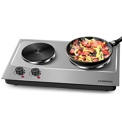 Cusimax Hot Plate Electric Double Burner Cast Iron Heating Plate Indoor&Outdoor Stove 1800W with Adjustable Temperature Control Non-Slip Rubber Feet Black Stainless Steel Easy Clean Upgraded Version