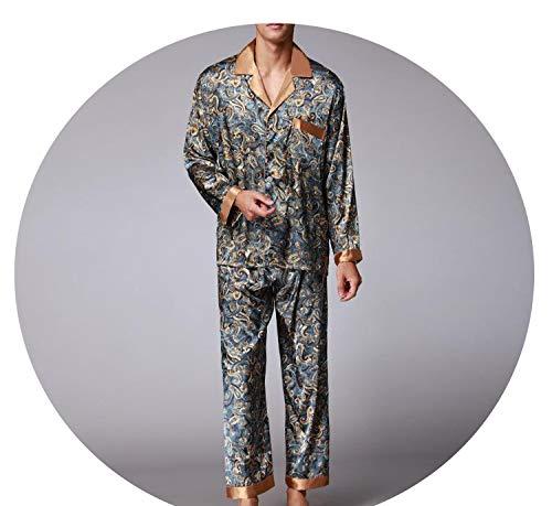 New Luxury Pajamas Men Paisley Pattern Sleepwear Silk Long-Sleeved Satin Mens Pyjamas Men's Lounge Pajamas Set Plus Size 4XL,Blue,XXL