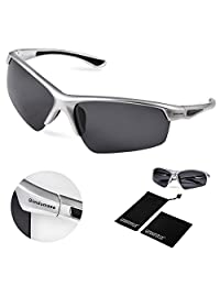 Gimdumasa Polarized Sports Sunglasses for Baseball Cycling Fishing Golf Tr58 Superlight Frame (silver frame with black lens)