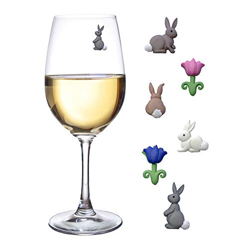 (Magnetic Wine Glass Charms - Cute Bunnies and Flower Drink Markers Set of 6 by Simply Charmed)