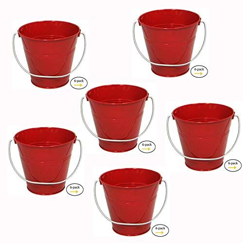 ITALIA 6-Pack Metal Bucket Color Red Size 4.3x 4.3 by ITALIA