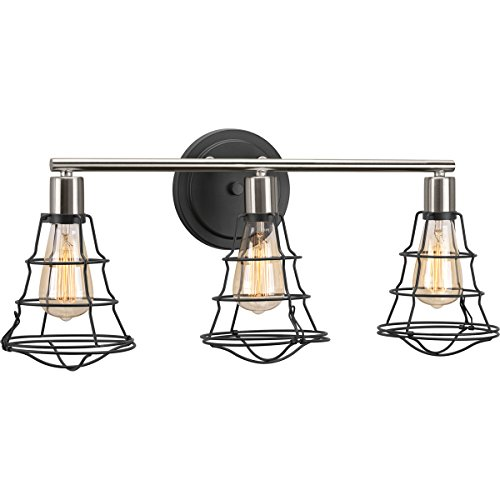 Progress Lighting P300030-143 Gauge Collection Three-Light Bath & Vanity, Graphite by Progress Lighting