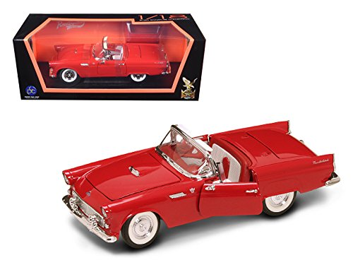 1955 Ford Thunderbird Convertible (1955 Ford Thunderbird Convertible Red With Red Roof 1/18 Diecast Model Car by Road Signature 92068r)