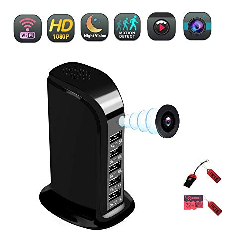 Hidden Spy Camera,Wireless HD USB Charger Camera and Motion Detection Mode Mini Camera with 5 Port Desktop Charging Station for Your Home and Office (Video Only)