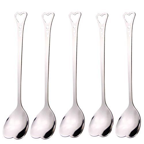 (WarmShine 5 PCS Stainless Steel Heart Shaped Coffee Spoon Stirring Spoon Tea Spoon Soup Spoon, 5.7 inch)
