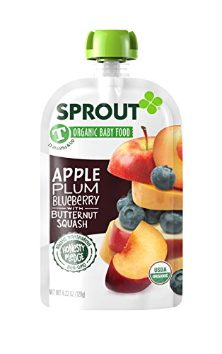 Puree Plum - Sprout Organic Toddler Puree Pouches, Apple Plum Blueberry with Butternut Squash, 4.22 Ounce (Pack of 5)