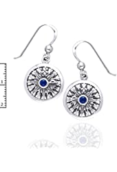 Celtic Voyage - Nautical Sea Compass Sterling Silver Earrings with Blue Lapis