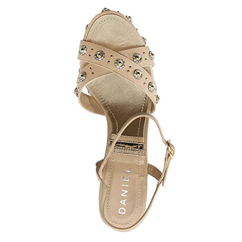 Daniel Pentra Beige Leather Embellished Wedge Sandals Beige Leather