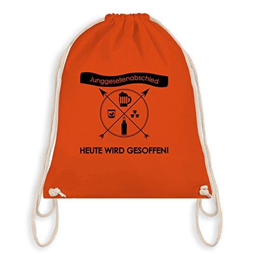 Shirtracer JGA Junggesellenabschied - Heute wird gesoffen! - Turnbeutel I Gym Bag Orange tyZ6nl