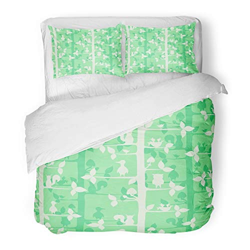 (Emvency 3 Piece Duvet Cover Set Brushed Microfiber Fabric Breathable Wild Pattern with Trees Forest Birds and Animals Wood Abstract Aspen Birch Bedding Set with 2 Pillow Covers Twin Size)