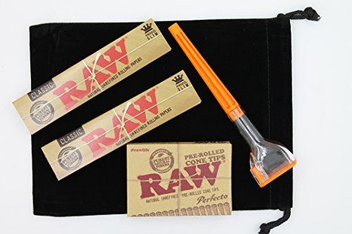 Raw Rolling Paper Bundle 5 Items- 1 Cone Artist Cone Roller 2x Raw King Size Paper 1 Pre Rolled Cone Tips. Icludes Black Velvet 5 X 7 Bag