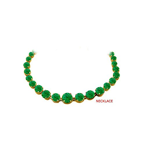 Emerald Graduated Necklace in 18K Yellow Gold Vermeil
