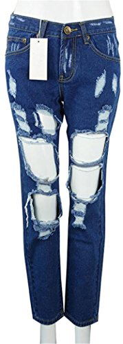 Simplee Apparel Boyfriend hole ripped jeans w…