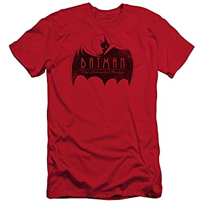 Batman The Animated Series One Color Logo Mens Slim Fit Shirt Red Lg