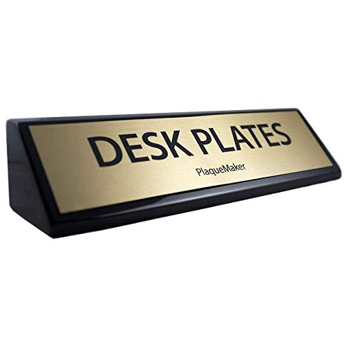 Black Piano Finish Desk Wedge (Gold, 10x2