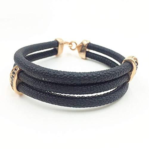 Stingray Fish Skin Leather Bracelet | with Stainless Steel Metal Circle Custom Bracelet