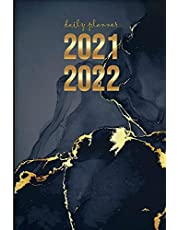 DAILY PLANNER 2021-2022: Weekly and Monthly Agenda Calendar July 2021-December 2022 – 18 Month Gold and Black Marble Planner - Trendy Aesthetic Best Friend Gifts for Women Men Sentimental