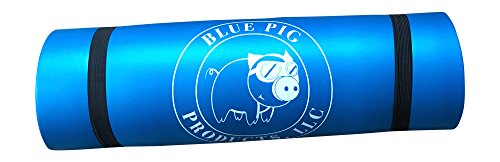 Blue Pig Products Yoga Mat with Carrying Strap|For Men and Women|½ In Thick, Anti-Tear, High Density & Nonslip|For Pilates, Exercise & Workouts|Provides A Comfortable Workout For Sale