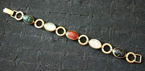 Scarab Beetle bracelet Carved multi color quartz stone Gold Filled Egyptian link ()