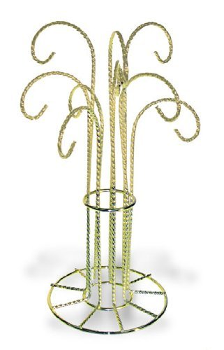 National Artcraft Ornament Stand with 9 Hooks Has Attractive Twisted Wire Design and Bright Gold Finish - Twisted Wire Stand Ornament