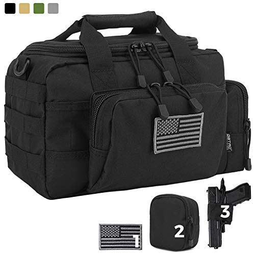DBTAC Gun Range Bag Small | Tactical 2X Pistol Shooting Range Duffle Bag with Lockable Zipper for Handguns and Ammo | Free Molle Pouch, Hook-Fastener Gun Holster and US Flag Patch Included (Black)