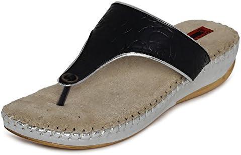 1 WALK Comfortable DR Sole Women-Flats/Sandals/Fancy WEAR Original/Slippers/Casual Footwear-Black @@AM-18C-Black