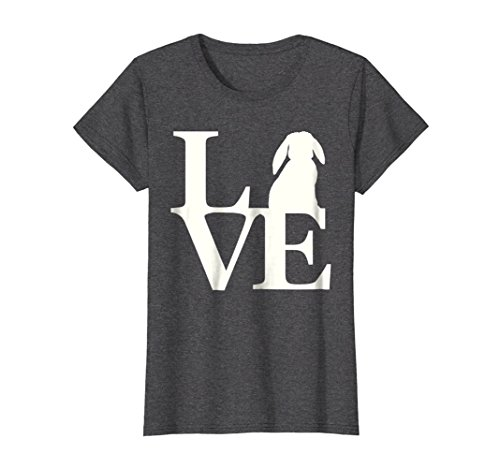 Womens Lop Rabbit LOVE Shirt Rabbit Bunny Lover Tee Large Dark (Mini Lop Rabbit)