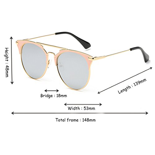 de Gafas Inlefen Dorado sol Mercurio Sun Metal Eye unisex Cat 400 moda de Blanco Glasses afas Vintage UV A7qB75x