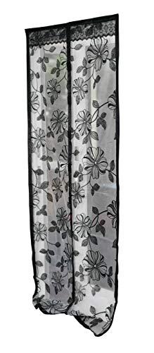 Home-X Black Floral Design Magnetic Screen Door Full Frame with Heavy Duty Mesh Curtain Fits Door Up to 34x82 Inch Bugs Out Screen Door Insect Out