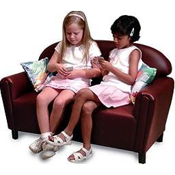 Brand New World School Age Premium Vinyl Upholstery Sofa - Port Burgundy
