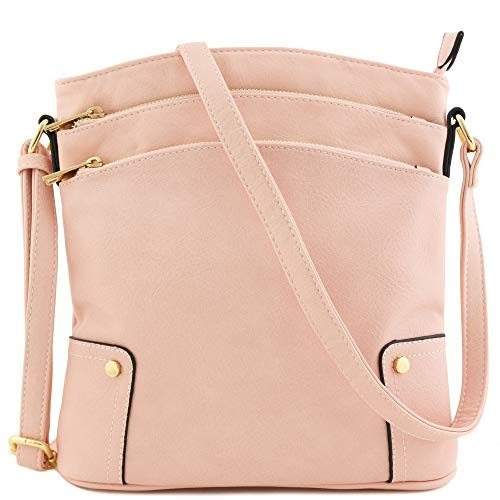 - Triple Zip Pocket Large Crossbody Bag (Blush)