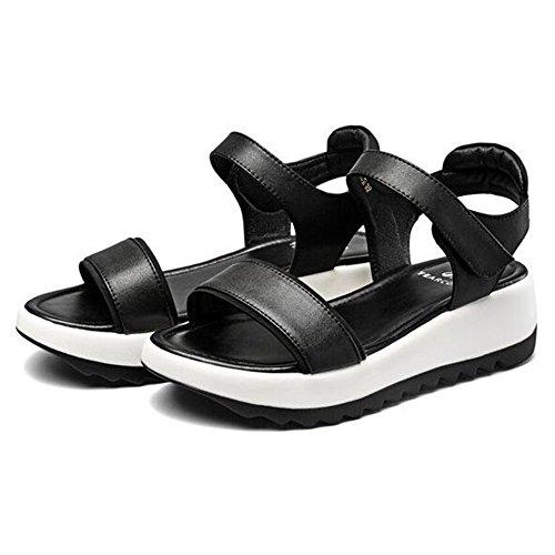tacón para diseño Sandalias de medio 3cm Zapatos playa de verano estudiante Sandalias de Sandalias Slope Estilo verano mujeres Ocio talón XIAOLIN Altura único de de del 4 de de Negro Deporte talón elásticas wOIZSqf