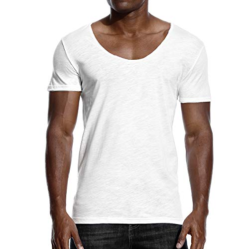 Mens Deep V Neck T Shirts Scoop Neck Slim Fit Basic Tee Casual Top White ()