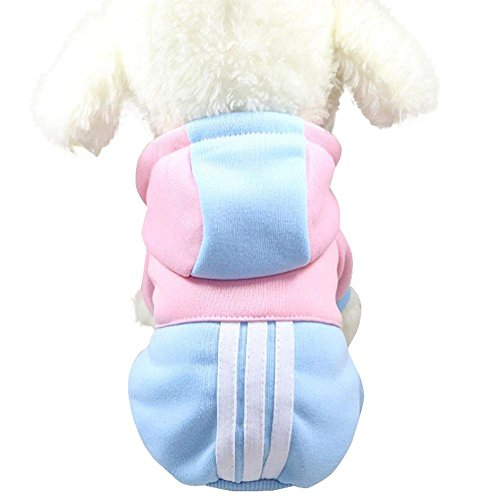 YOMXL Fashion Color Block Patchwork Hoodie Sweater Cute Pet Dog Cat Warm Clothes Short Sleeve Striped Decor Pullover Sweatshirt For Pet (S, Sky Blue) Dog Striped Hoodie Sweater Clothes