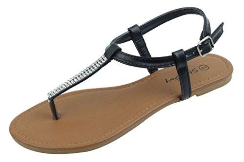 Roman Flat Sandals (Shoes 18 Womens Roman Gladiator Sandals Flats Thongs 2 Buckle Shoes 4 colors (7, 182233 Black))