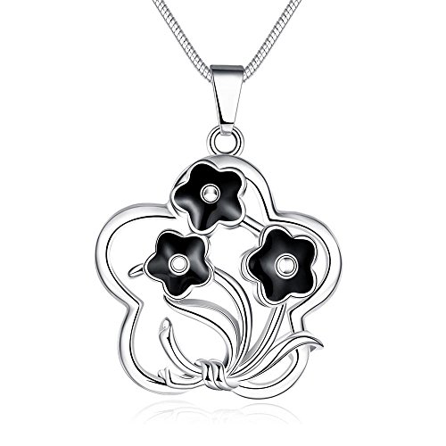 [Black Oil Drip Flower Pendant Necklace] (Kida Atlantis Costume)