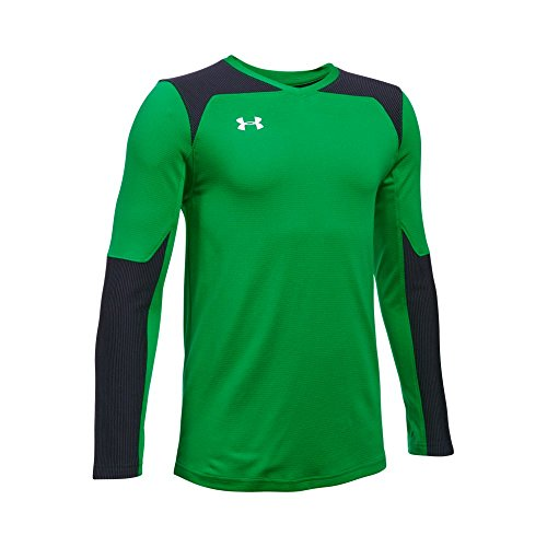 Under Armour Boys' Threadborne Wall Goalkeeper Jersey, Putting Green (753)/White, Youth Medium