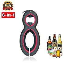 6 in 1 Multi Bottle Opener, Professional Jar Bottle Can Opener, Lid Twist Off Gripper, Soft Grips Handle, Multifunction Opener for Seniors Rheumatoid Arthritis, FDA Approved