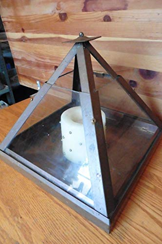 Industria Copper Pyramid glass Vintage candle holder lamp lantern table sconce