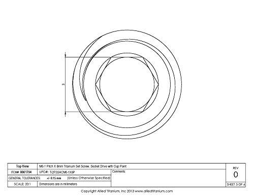 Allied Titanium 0001794 Pack Of 10 M6 1 Pitch X 8mm Titanium Set