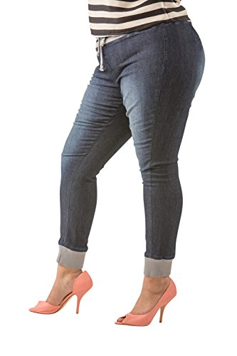 Poetic Justice Curvy Women's Plus Size Blue Denim Ribbed Waistband Jogger Pant Size 1x