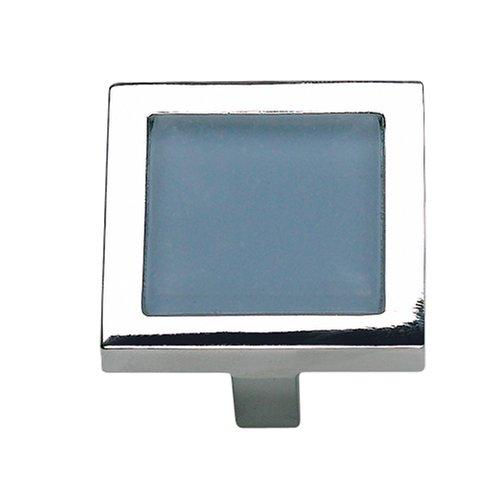 (Atlas Homewares 230-BLU/CH 1-3/4-Inch Spa Blue Square Knob, Polished)