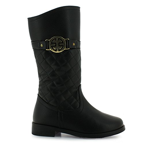 Tropicana quilted napa boot completed with a gold colored medallion for girls. (1.5, Black)