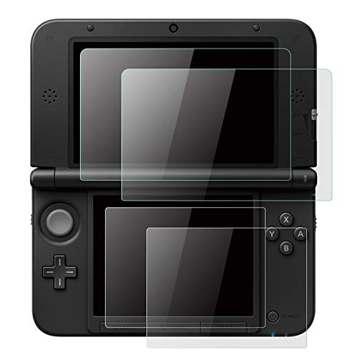 (2 Set) OOTSR Screen Protector Compatible with Nintendo 3DS XL & New 3DS XL, Include Glass Protector for Top Screen + Clear LCD Protective Film for Bottom Screen, 2pcs / Each