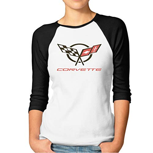 DavidBill T-Shirts for Women Corvette Logo Style 3/4 Sleeve Tee Black (Best Corvette Ever Made)