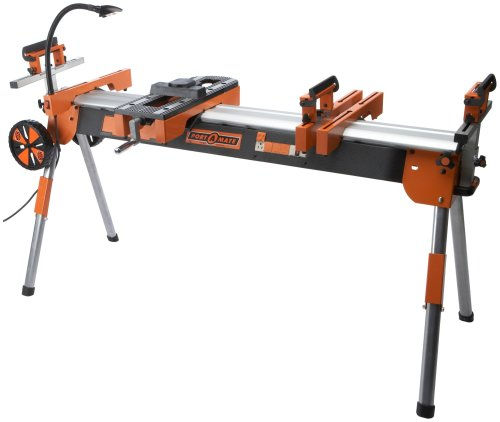 HTC Folding Miter Saw Power Tool Stand with Wheels, Light...