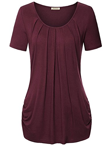 Leggings tunic top for women, Jazzco Short Sleeve Blouse for Leggings Plus Size (Wine,Medium)